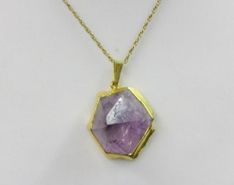 Vintage Amethyst Crystal Pendant on Chain