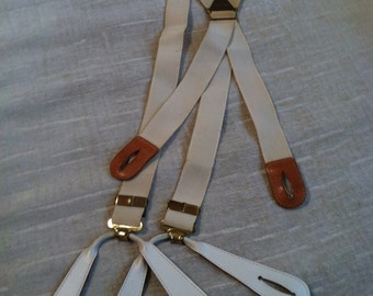 Ivory Elastic Leather Tabbed 1940s Vintage PIONEER USA Braces - Gatsby