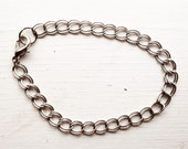 Curb Chain Bracelet / Antique Silver Finish / Pick Your Length / Add a Charm / Charm Bracelet