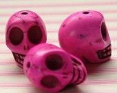 Pink faux howlite skull beads set of 5
