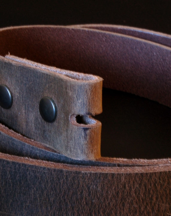 """Interchangeable Leather Snap Belt ~ Fawn Brown 1-1/2"""" or 1-1/4"""" Unisex Leather Belt ~ Made in Canada Custom Cut Made to Fit Your Waist Size"""