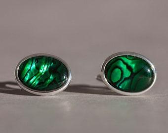 Green abalone shell cufflinks, green cuff links