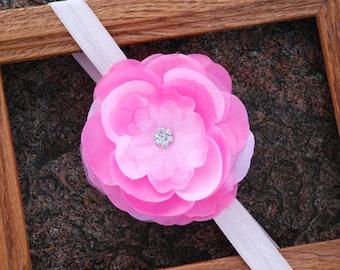 Pink Jeweled Rose Elastic Headband