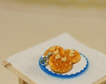 Mini Waffle Charm with heart shaped butter pats