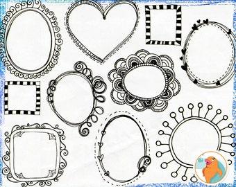 Digital Clip Art Borders, Doodle Frames, Adorable Whimsical Circles, Commercial Use Labels, PNG & Photoshop Brush,  Invitation DIY