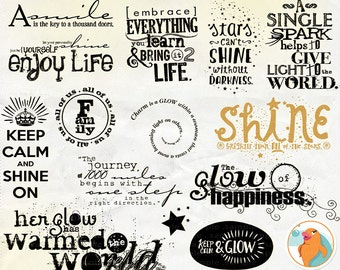 Digital Word Art Glow and Shine WordArt, Motivational Typography, Digital Scrapbook Title, Positive Quotes, Summer PNG Image + PS Brushes