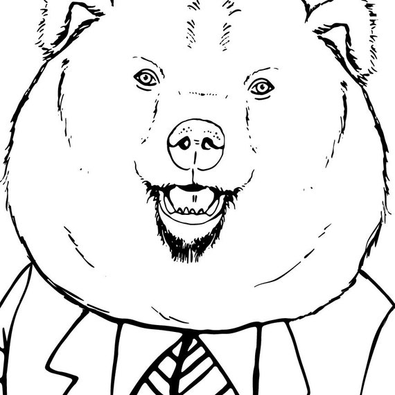 Line Drawings Of Woodland Animals : Woodland animals in suits clipart gentleman bear clip art