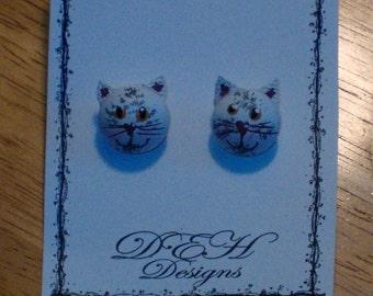 White Cat Post Earrings