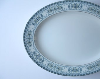 Large Vintage Noritake Serving Platter Burlington Blue Green