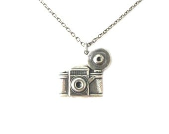 Camera Necklace- Sterling Silver Ox or Antiqued Brass Finish