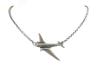 Steampunk Airplane Necklace- Sterling Silver Ox Finish