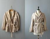 Vintage mens smoking jacket. 1970s mens housecoat. Striped cotton mens robe