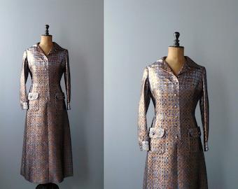 Vintage maxi dress. Metallic houndstooth maxi dress. 1970s metallic maxi gown. Long gown