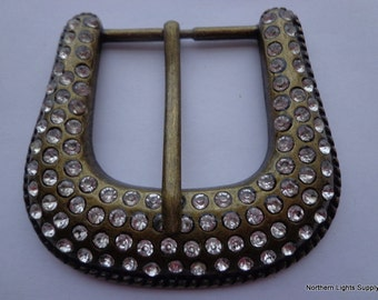 Vintage Metal Belt Buckle with Rhinestones