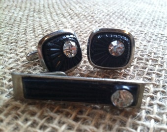 Art Deco Cuff Link / Tie Tack Set *PRICE REDUCED!*