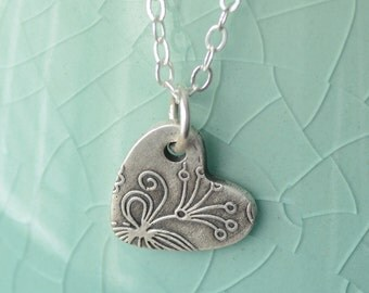 Fine Silver Heart Charm Necklace Sterling Silver Handcrafted Botanical Swirl Style Heart Pendant