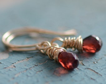 SALE Gold and Garnet Gemstone Earrings Faceted Garnets 14K Gold-Filled Wire Wrapped Earrings Gold Jewelry