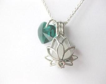 Seaglass Pendant - Birthstone Lotus Sea Glass pendant lotus Pendant Sea Glass Jewelry Beach Glass Jewelry Handmade, Custom Jewelry