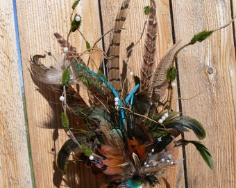 Pheasant Feather Rustic 'n Pearls Cake Topper with choice of feathers and colors for your Wedding, Birthday,or Groom's cake