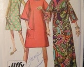 Simplicity 7376 Vintage 1960's Easy to Sew Maxi and Knee Length Dress Pattern -1967- Size 14 bust 34