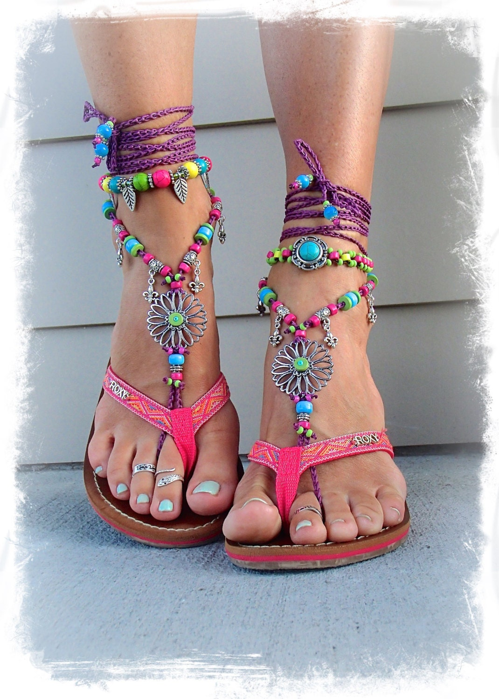 Sunflower Barefoot Sandals Hippie Festival Sandals Flower Toe