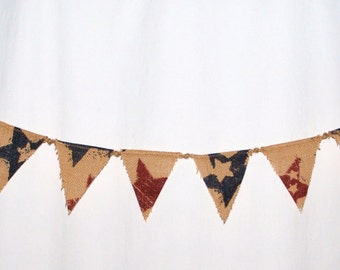 Red, White, and Blue Burlap Bunting with Miniature Flags