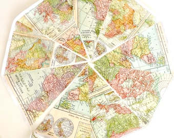 Map Garland, Bunting Flags, Banner Vintage World Map, Fabric Flags, Photo Prop, Map Art, Travel Map,  Antique  Map Decor Teacher Gift, Party