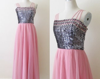 Vintage 1970's Party Dress / Black Sequined Bodice Sheer Pink Chiffon Cocktail Dress / 60's 70's Full length Prom Dress