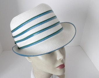 Mr John Sophisticate Straw Hat - Teal Blue and Green Trimmed Hat - Designer High Fashion 1970-80 Hat