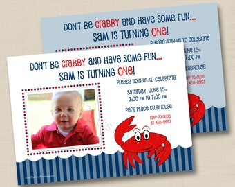 Our Little Crab Custom Boy or Girl Birthday Party Photo Invitation Design- any age