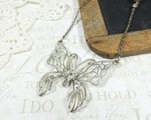 MONARCH | vintage 60s butterfly statement necklace in silver