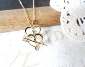 CUPID double heart hypoallergenic necklace in 14k gold filled | wedding day | valentines day | arrow | vintage | romantic | gift | diamond