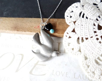 lovey DOVEY peace flying dove necklace pendant with black heart and turquoise bead | silver | repurposed | vintage | pewter | dove | peace