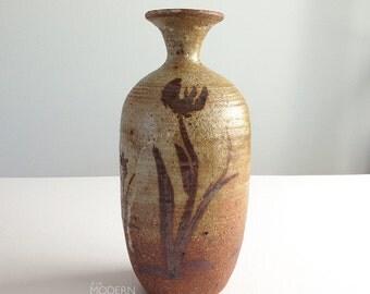 Takekoshi Kashi Floral Design Studio Stoneware Vase Mid Century Modern