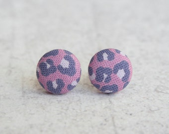 Purple Leopard, Fabric Covered Button Earrings