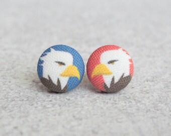 Bald Eagles Fabric Button Earrings