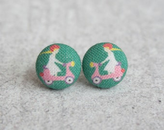 Pink Scooter Fabric Button Earrings