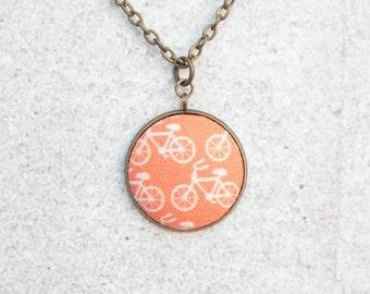 Orange Bikes, Fabric Button Pendant Necklace