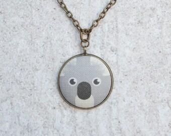 Koala, Fabric Button Pendant Necklace