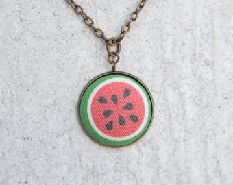 Watermelon, Fabric Button Pendant Necklace