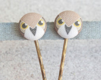 Owls Fabric Covered Button Bobby Pin Pair