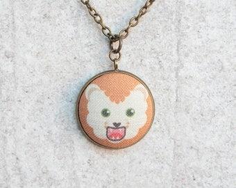 Lion, Fabric Button Pendant Necklace