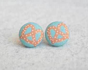 Pretzel Fabric Button Earrings