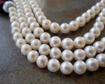 Freshwater Pearl White Round Cultured Pearls 6mm  6.5mm AAA Full Strand 68 Pearls