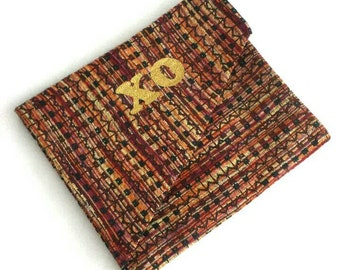 Upcycled Fabric XO Clutch- In a 1990's imitation Missoni knit fabric