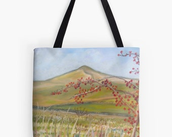 "Yorkshire Hills Landscape Scenery Tote Bag - Artist's Pastel Painting Design. Two Sizes Available Medium 16"" and Large 18"""
