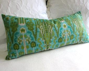 BOMBAY AQUA  designer fabric accent lumbar Bolster Pillow 12x26 insert included