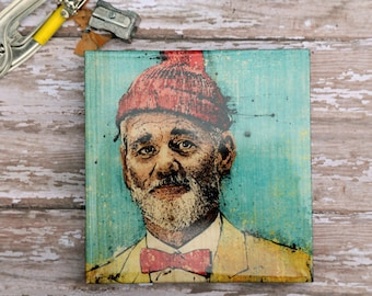 "The Life Aquatic's ""Steve Zissou"" 5"" x 5"" Print on Wood Block"