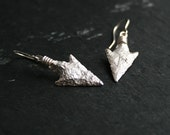 Prehistoric Arrowheads dangle earrings -  sterling silver replicas - homage to ancient men series  - made to order