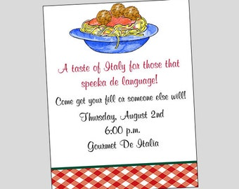 Spaghetti Pasta Invitation Printable ~ Italian Dinner Invitation ~ You print or WE CAN!